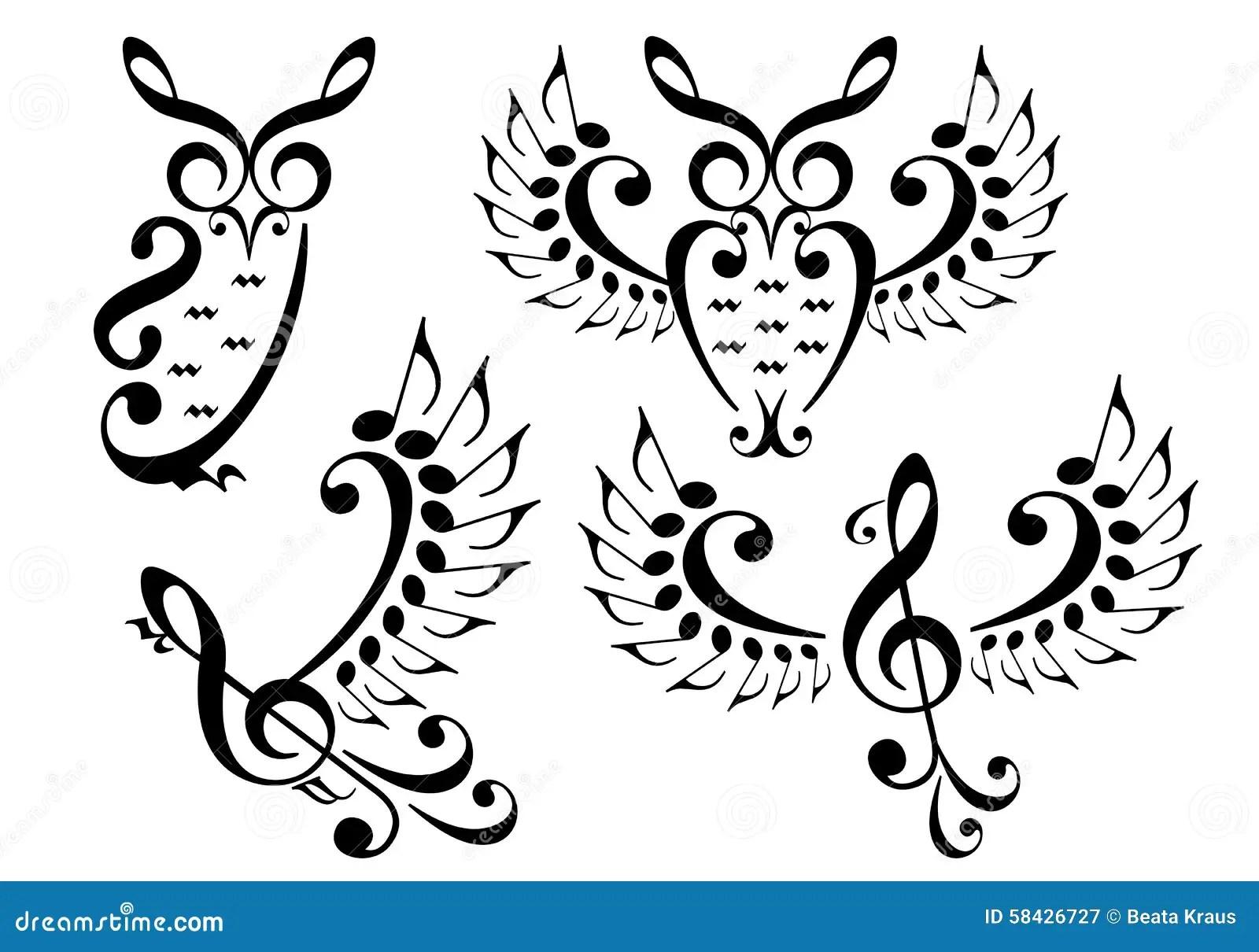 Music Bird And Owl Vector Set Stock Vector