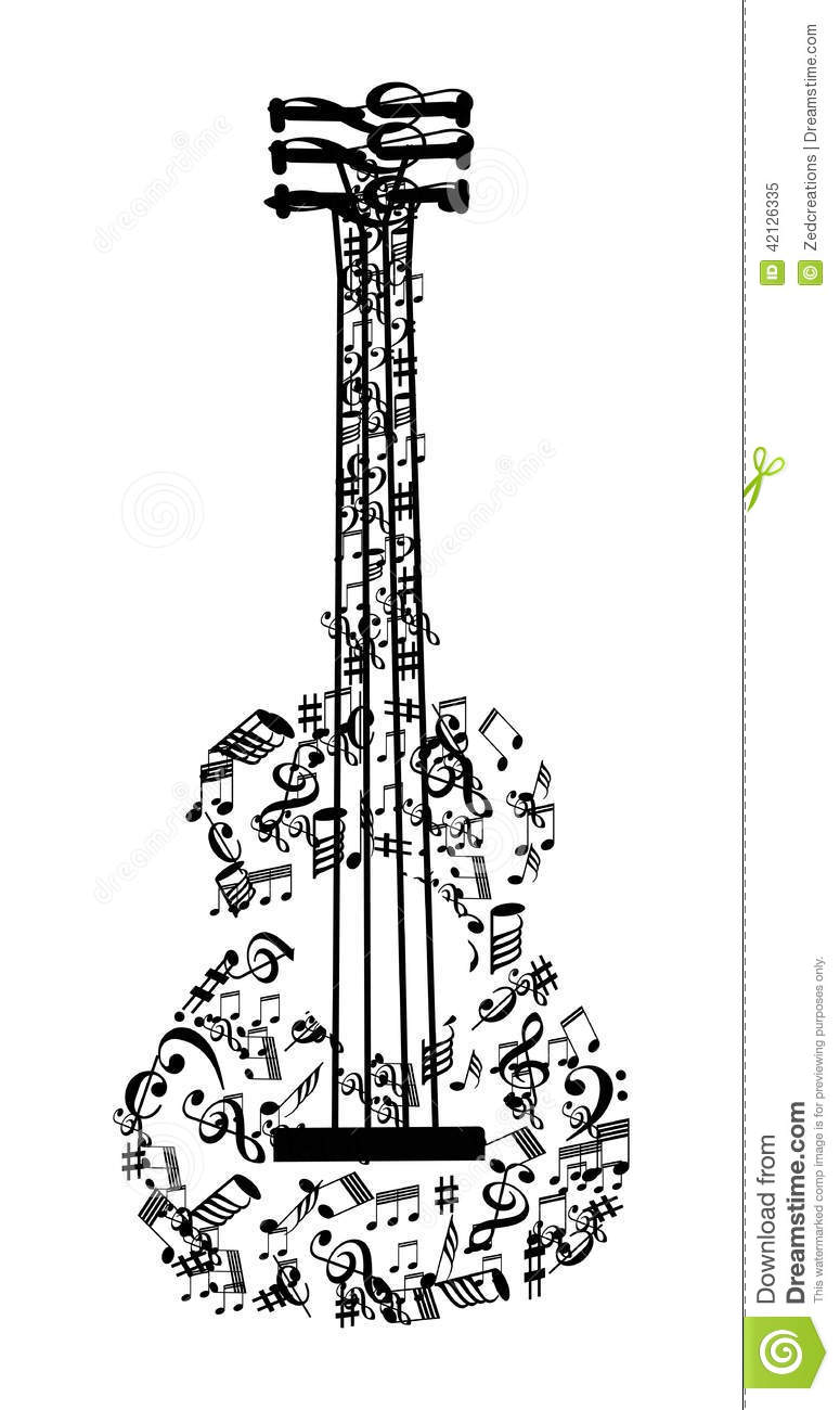 Background Music Notes Guitar