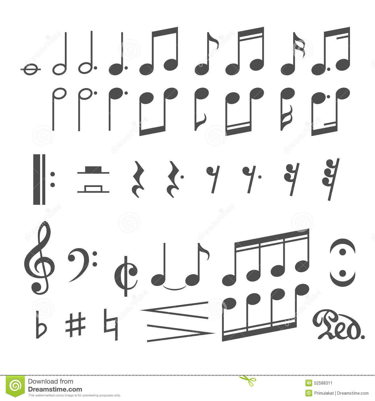 Music Notes And Icons Vector Set Stock Vector