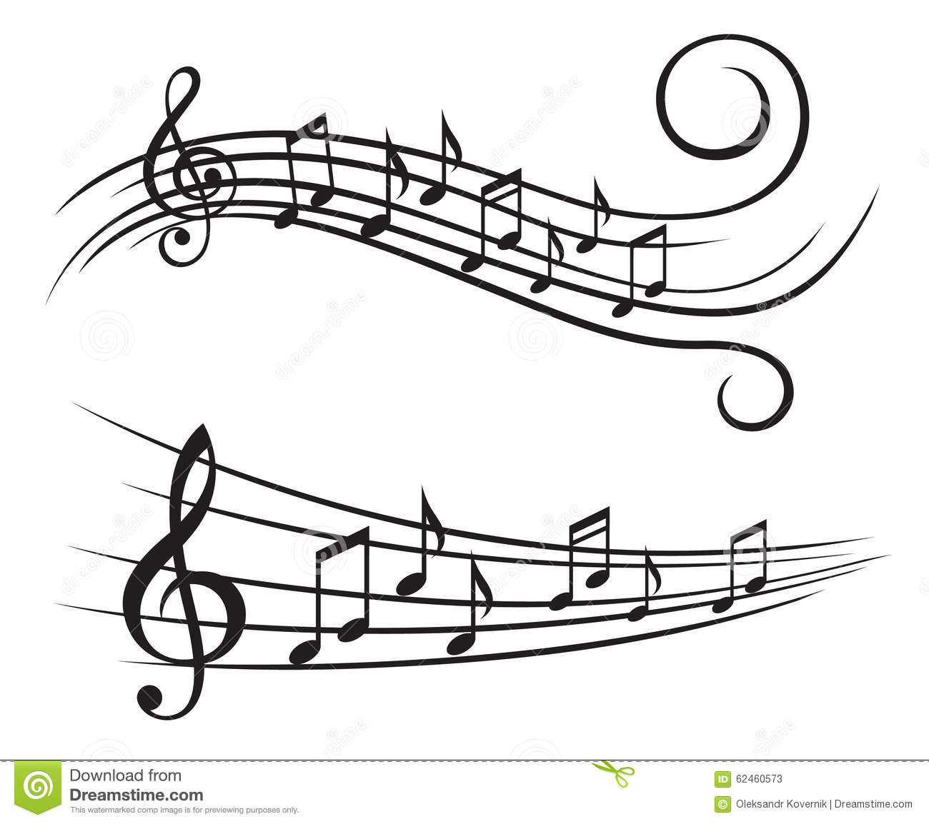 Music Notes On Stave Stock Vector Illustration Of Cord
