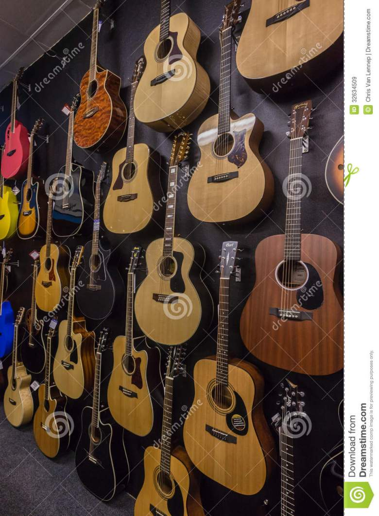 music shop guitars dozens editorial stock image. image of guitars