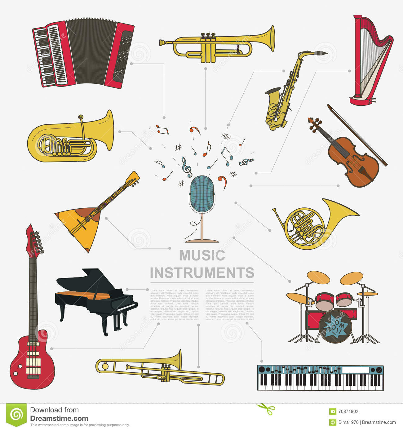 Musical Instruments Graphic Template All Types Of Musical