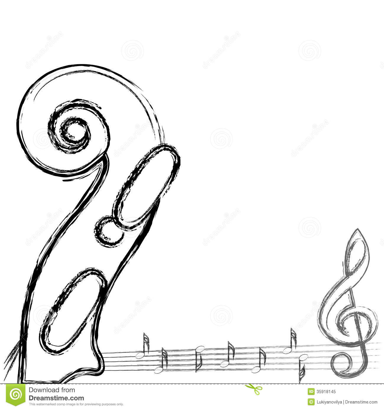 Musical Notes With Violin Background On White Stock