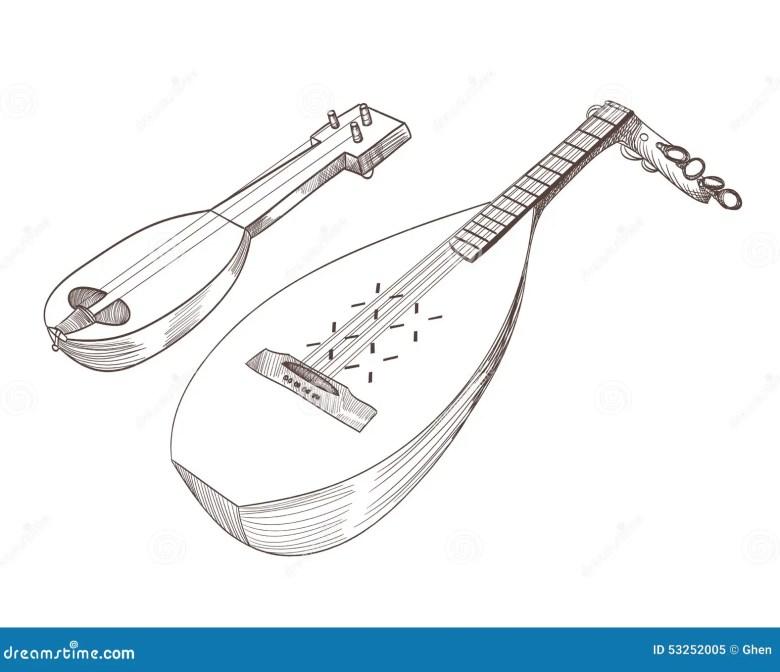 musical stringed instruments stock vector - illustration of folk