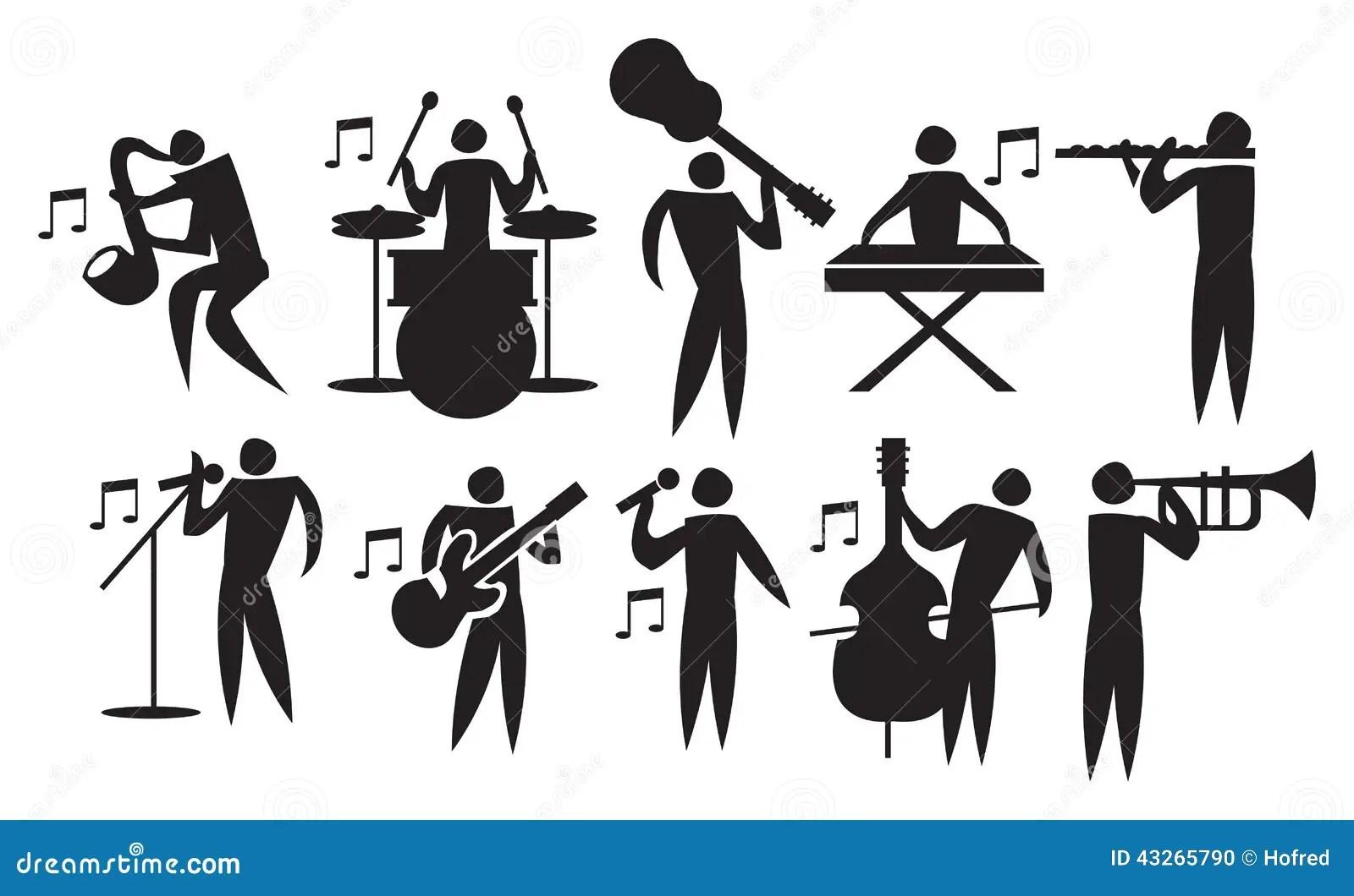 Musician Vector Icon Set Stock Vector