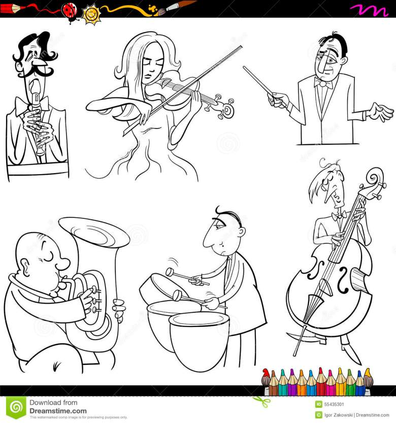 musicians cartoon coloring page stock vector - illustration of