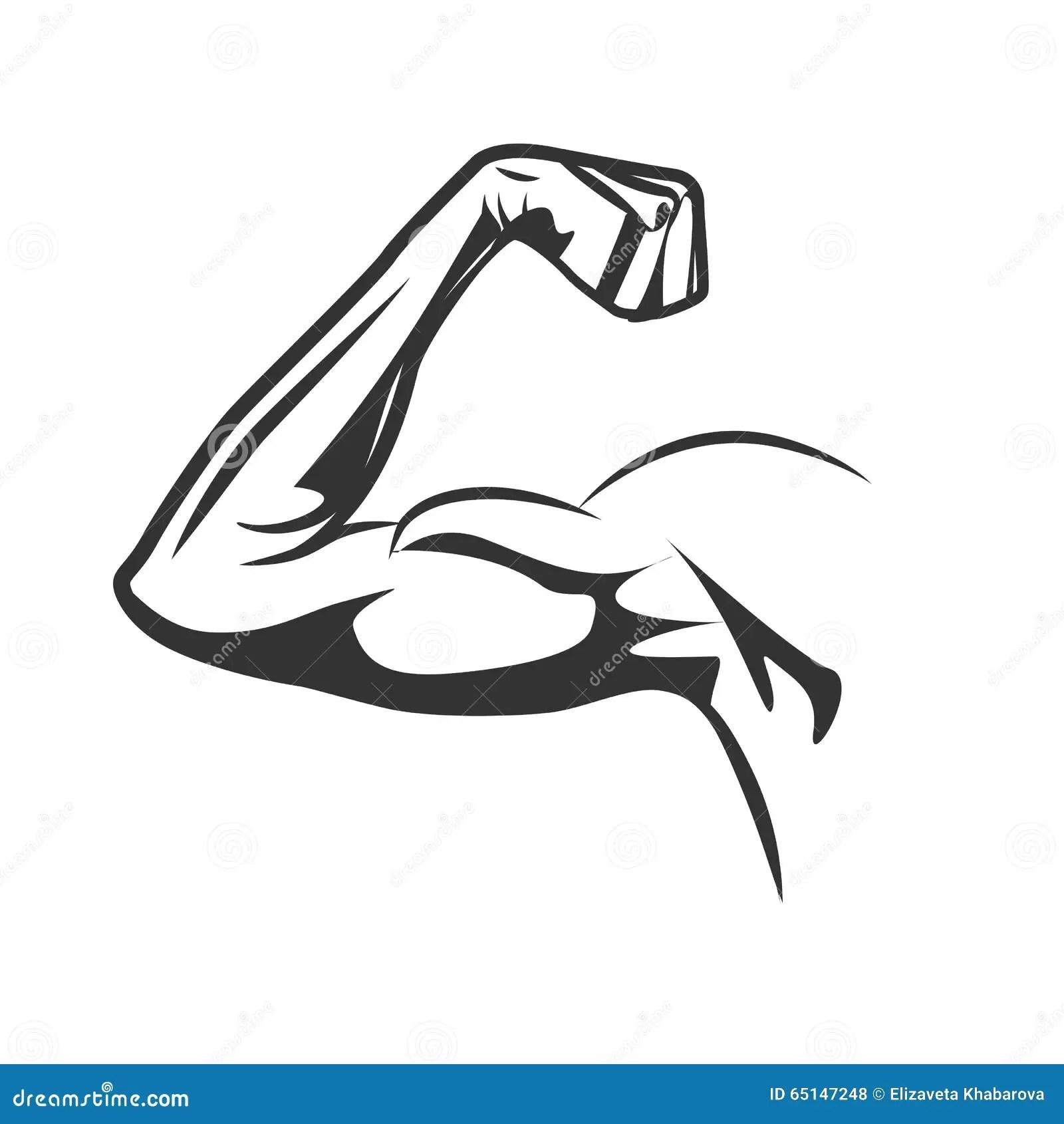 Muskulos Arm Som Bojer Bicepen Ocks Vektor For