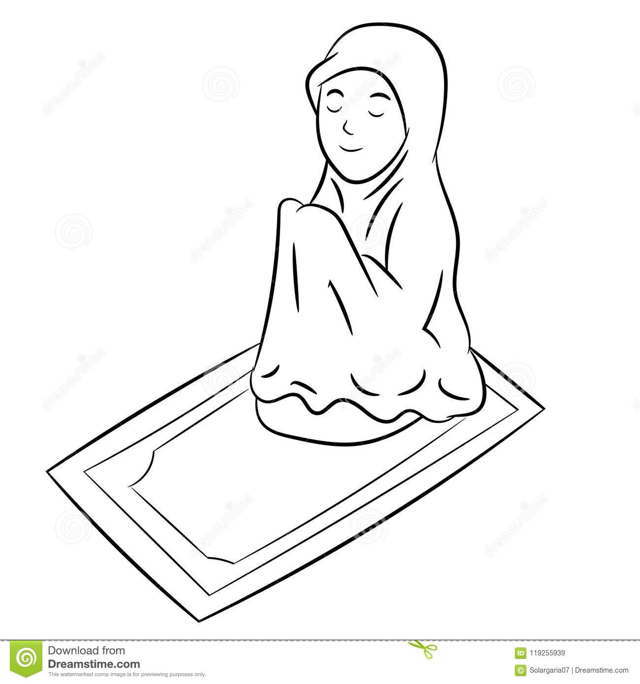 Muslim Girl Praying Hand Drawn Vector Illustration Stock