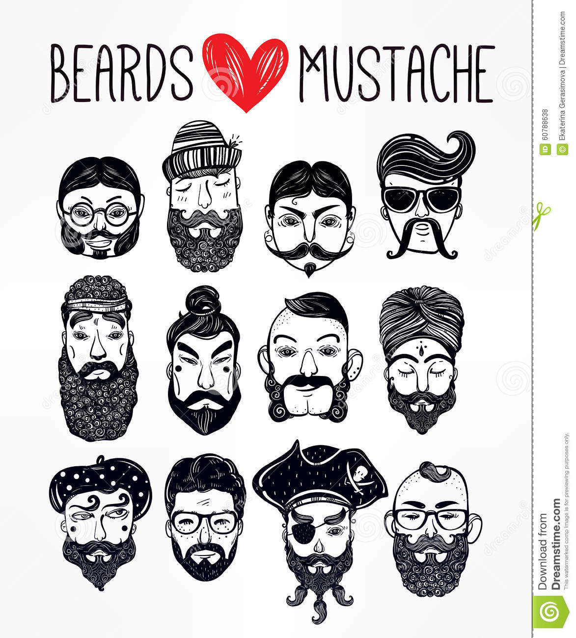 Hand Drawn Set Of Men F With Stylish Facial Hair Stock