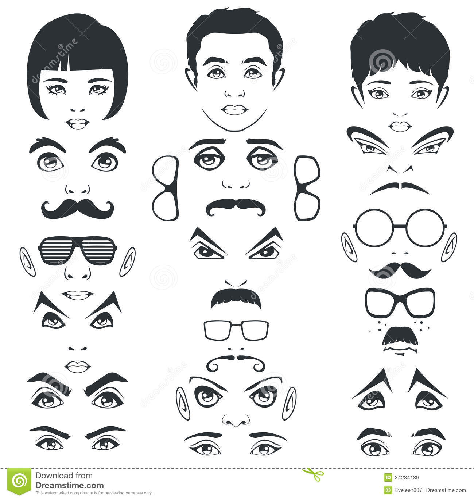 Mustern Sie Schnurrbartlippen Und Haar Gesichtsteile