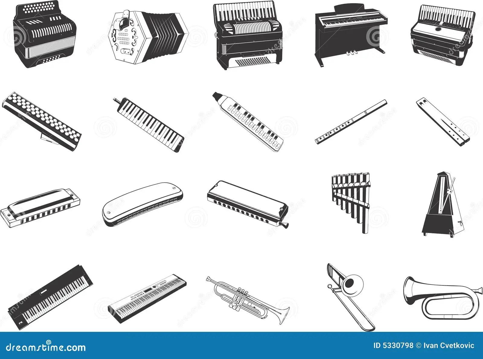 Muzikale Instrumentenpictogrammen Vector Illustratie