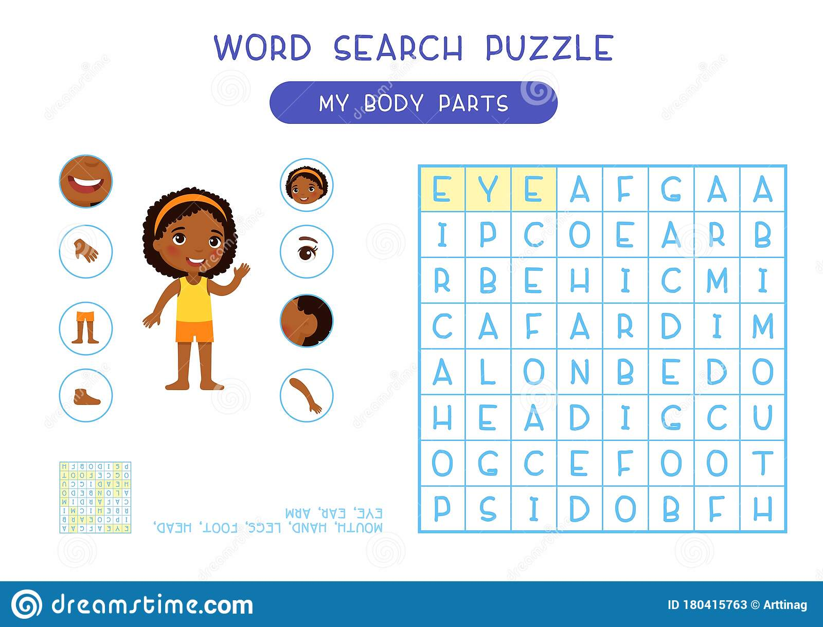 My Body Parts Word Search Puzzle Flat Vector Design