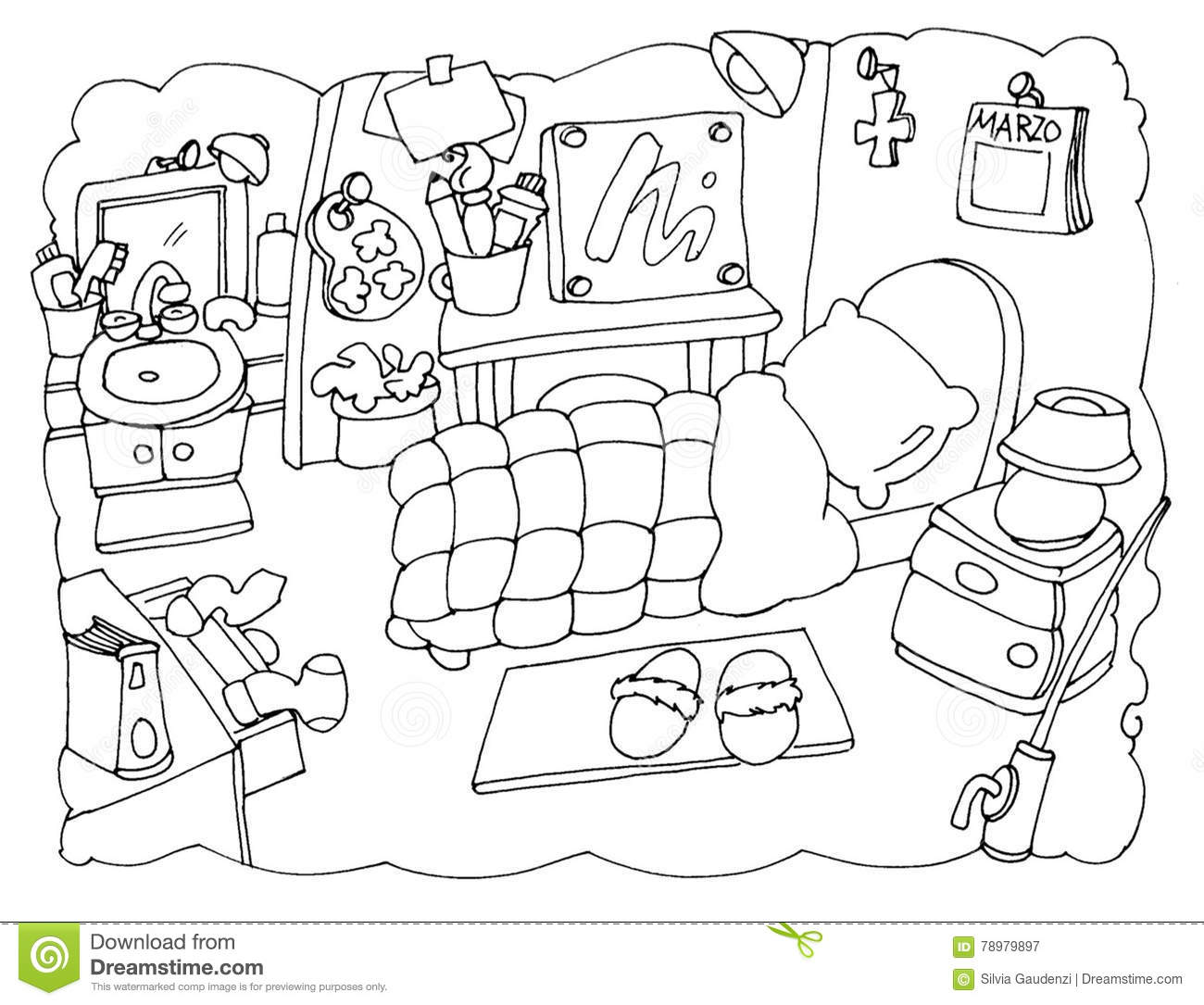 Bedroom Kids Pic Drawing Images Sketch Coloring Page