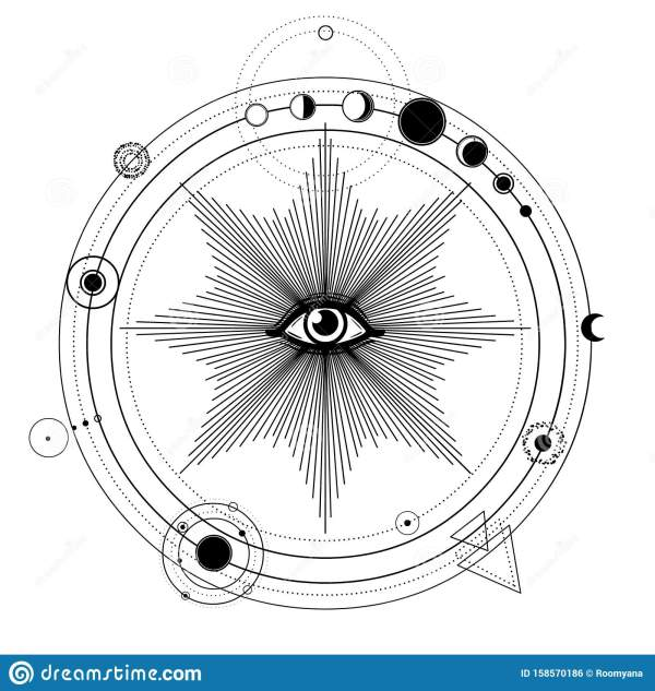 Mystical Drawing: Stylized Solar System, Orbits Of Planets ...