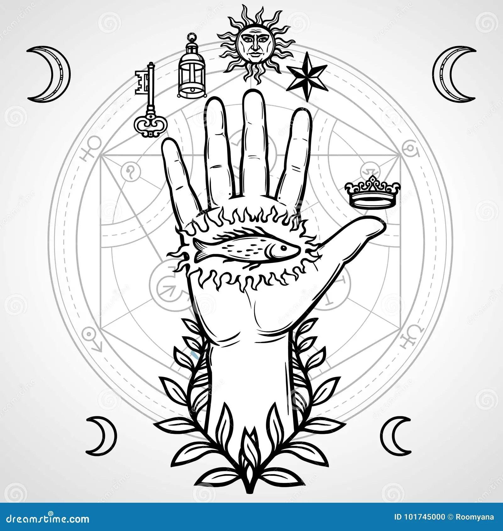 Mystical Symbol Human Hand Sacred Geometry Alchemical
