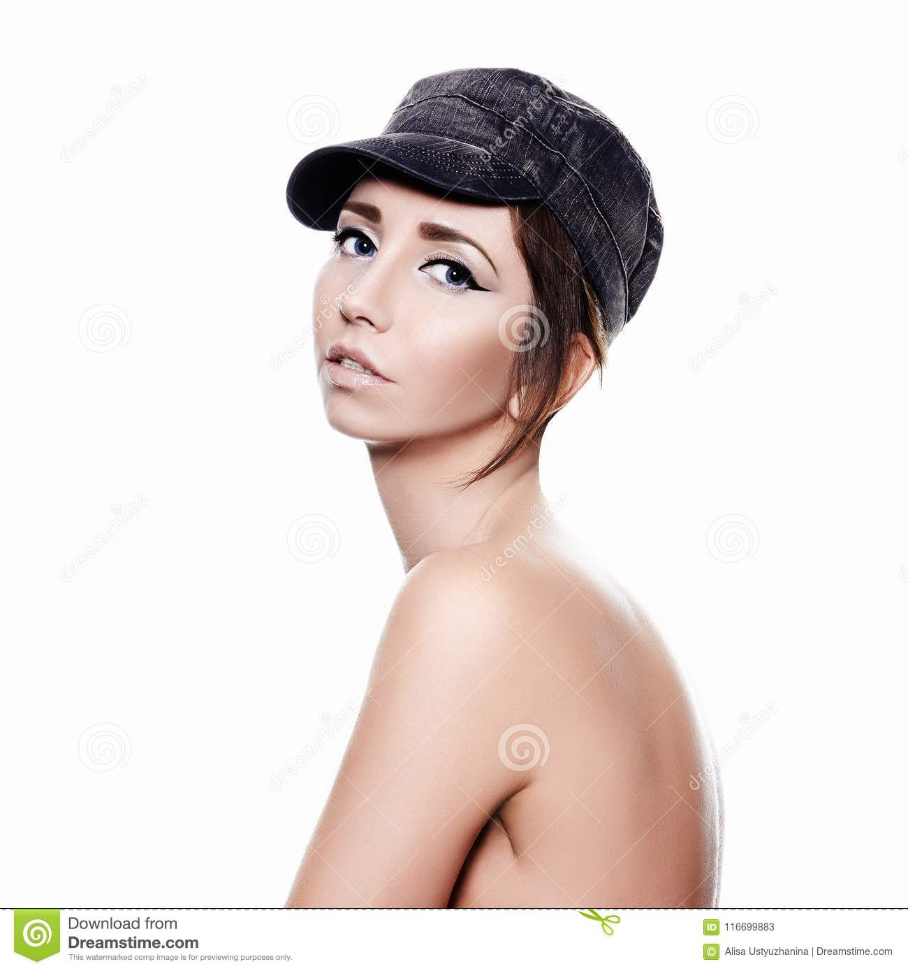 Naked Girl In Cap Beauty Make Up Sensual Woman Isolate Portrait