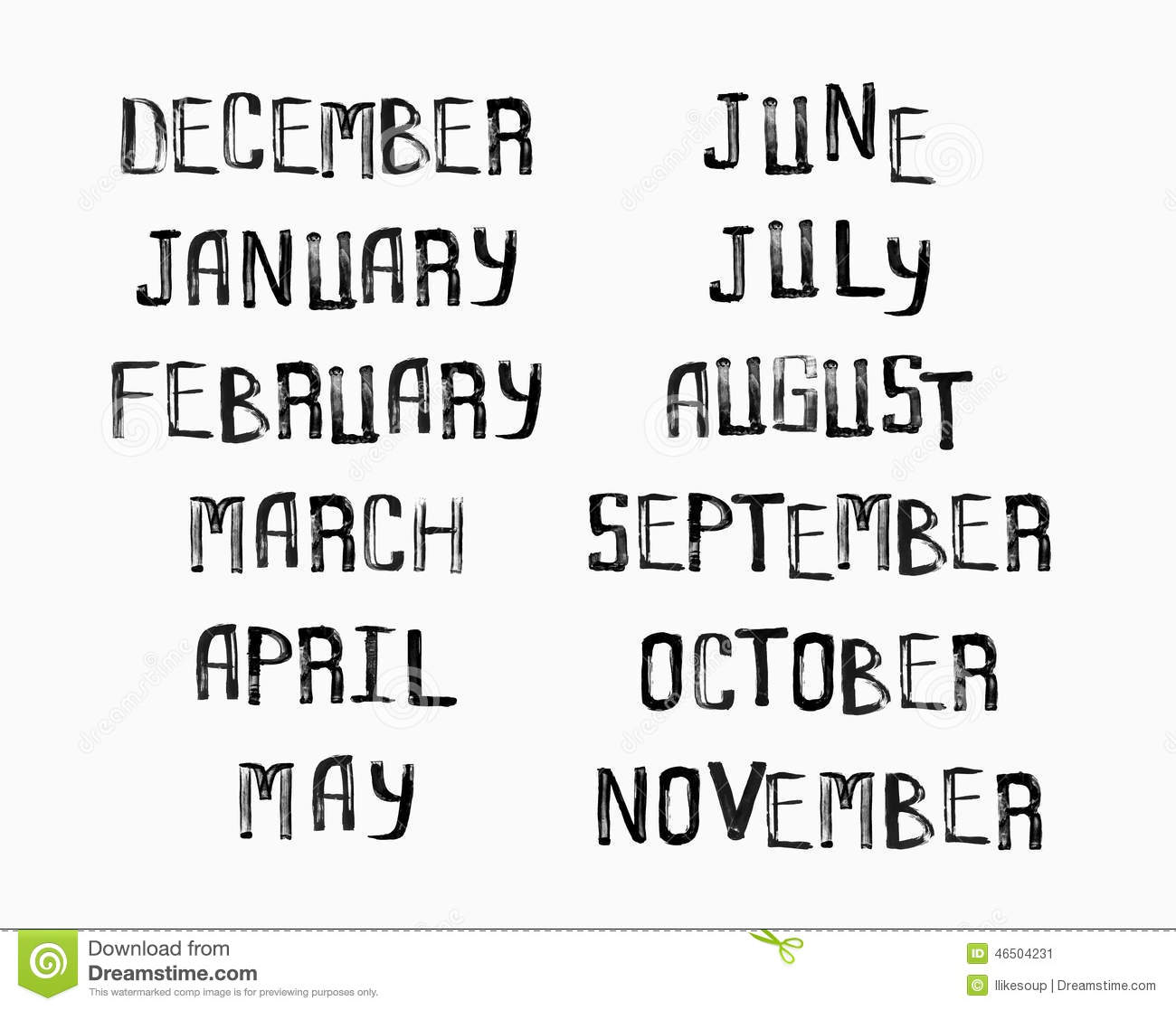 Names Of Months Of The Year Vintage Grunge Typographic