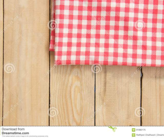 Download Napkin On Wooden Table Top View Background Stock Image Image Of Gingham