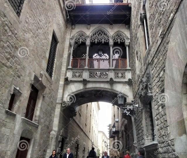Narrow Street Carrer Del Bisbe In Gothic Quarter Barcelona Spain