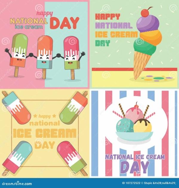 Ice Cream Retro Poster Background Design Flat Stock Photos ...