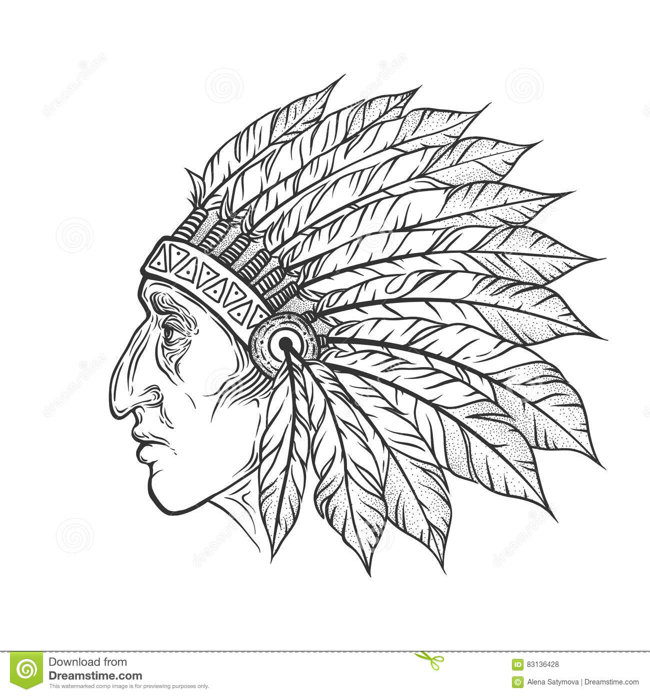 Sketch Of Tattoo Art Native American Indian Royalty Free