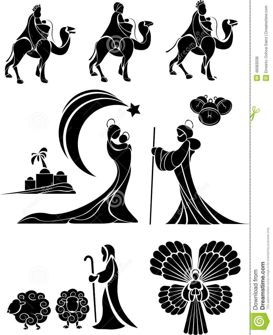 Nativity Scene Set Stock Vector
