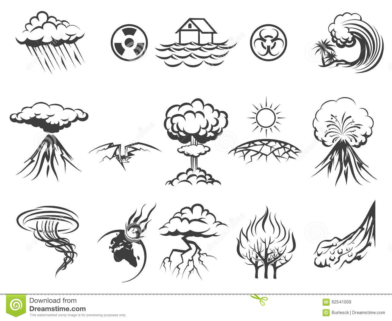Natural Disaster Icons Stock Vector Illustration Of