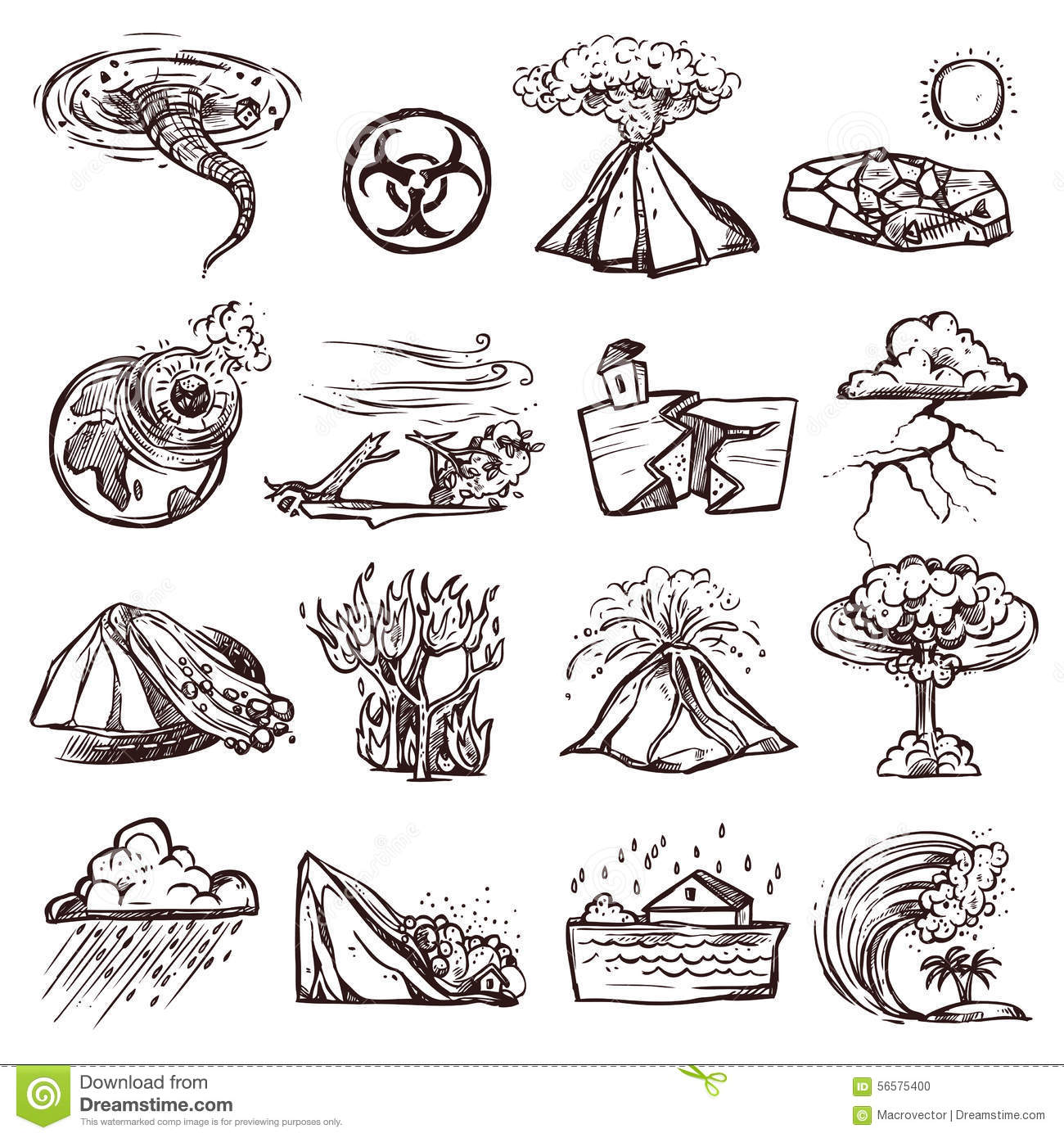 Natural Disaster Sketch Icon Set Stock Vector