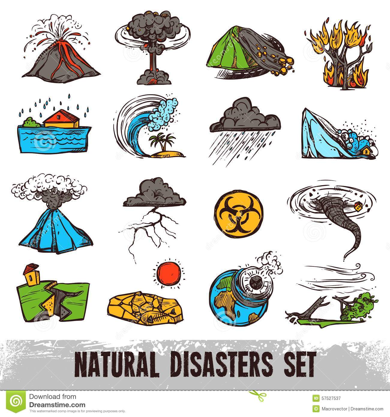 Natural Disasters Color Set Stock Vector