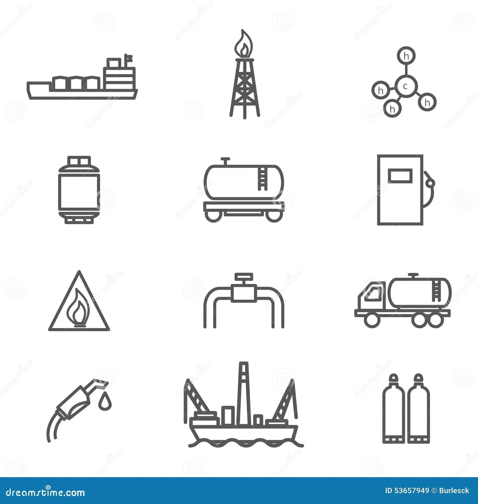 Vector White Natural Gas Icon Set Stock Photo