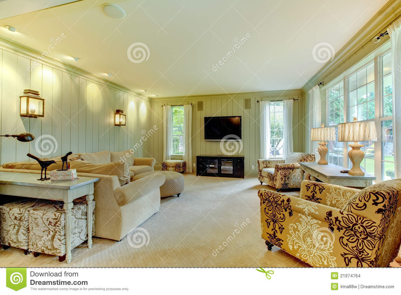 Natural Luxury Cream And Green Living Room Stock Photo