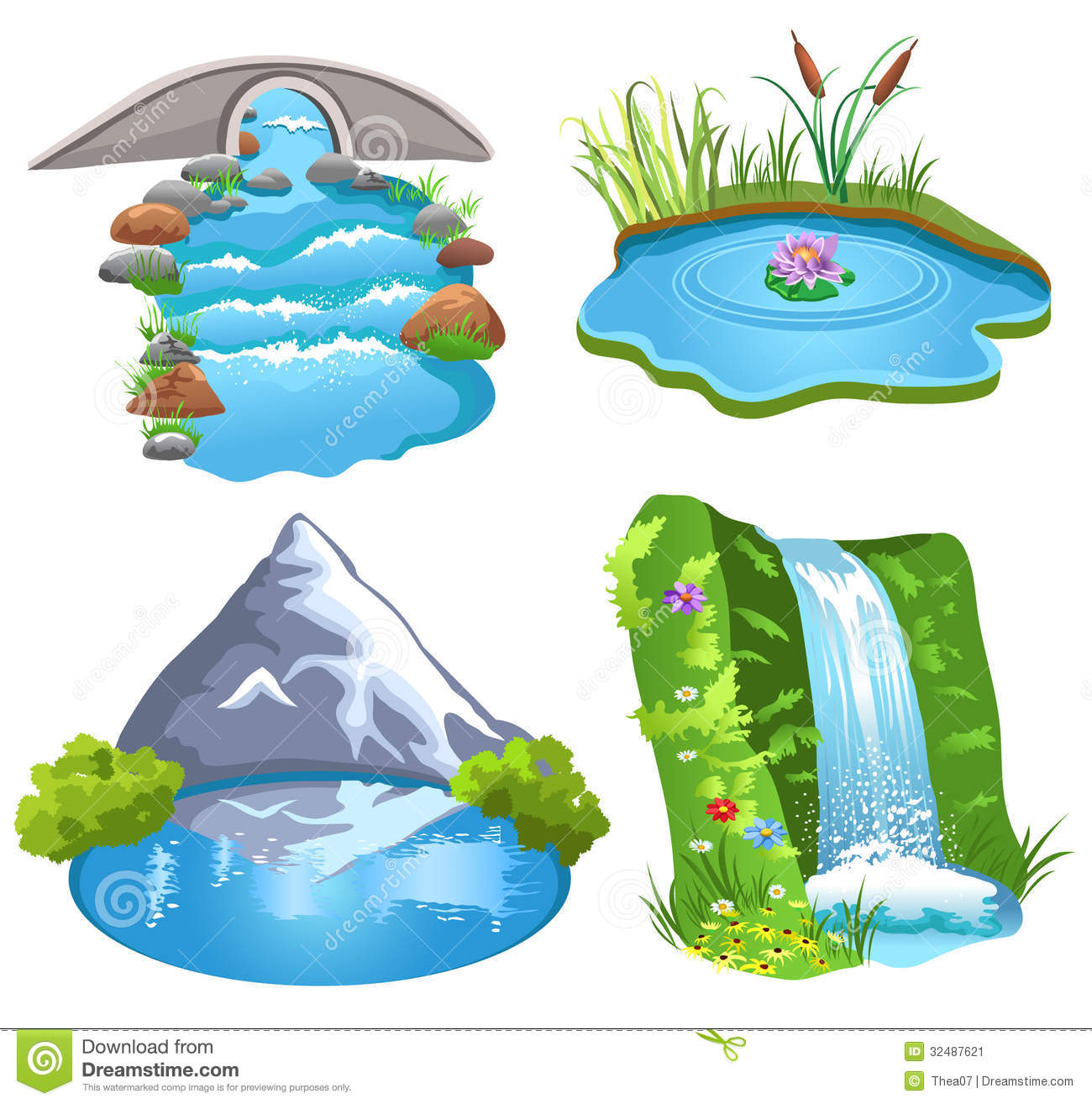 Natural Water Stock Vector Illustration Of Flowing Grass