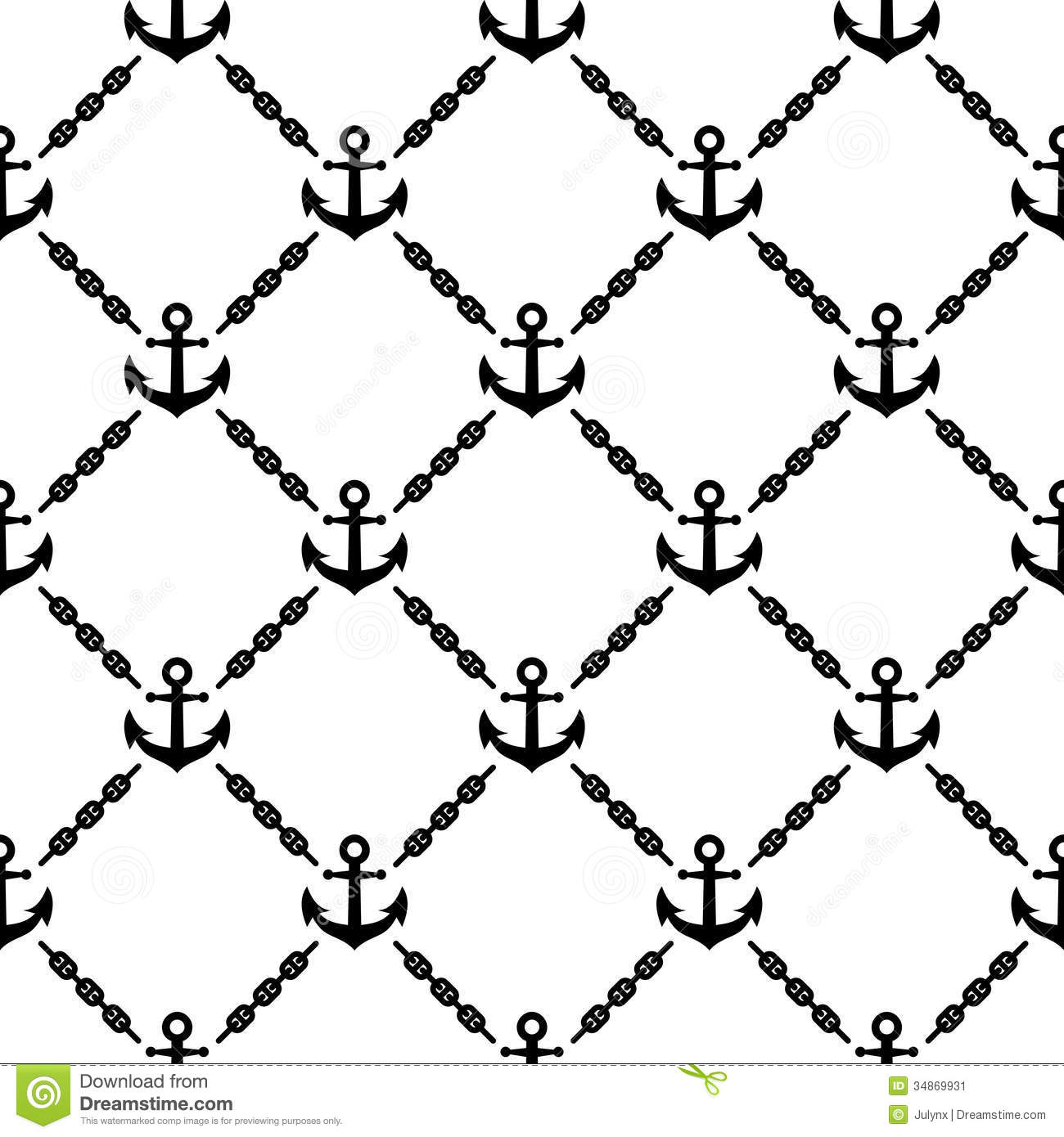 Navy Vector Seamless Pattern With Anchors Stock Vector