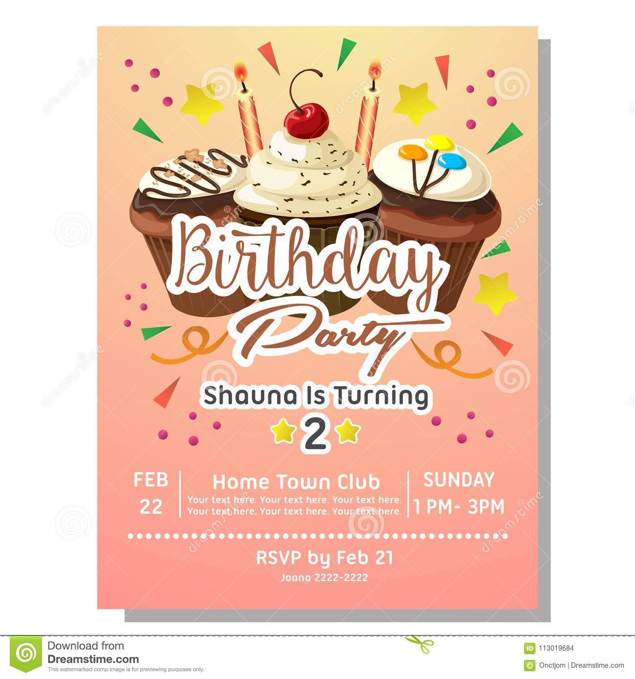 https www dreamstime com nd birthday party invitation card chocolate cupcake template image113019684
