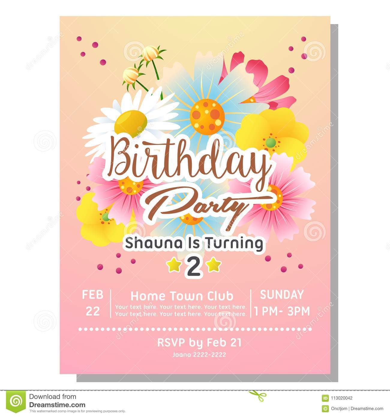 https www dreamstime com nd birthday party invitation card template flower nd birthday party invitation card flower image113020042