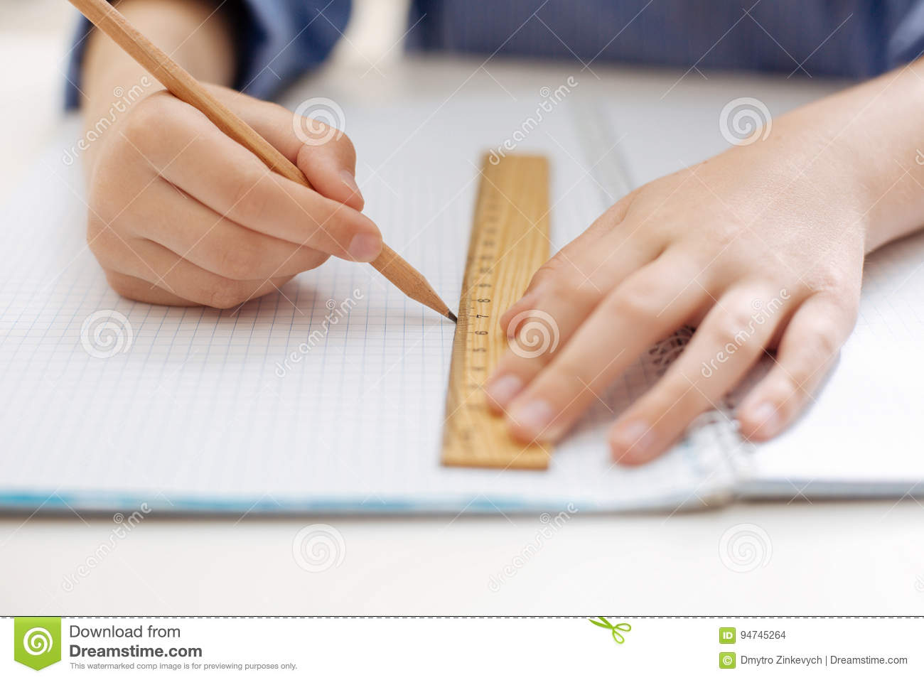 Neat Charming Child Tracing A Straight Line Stock Photo