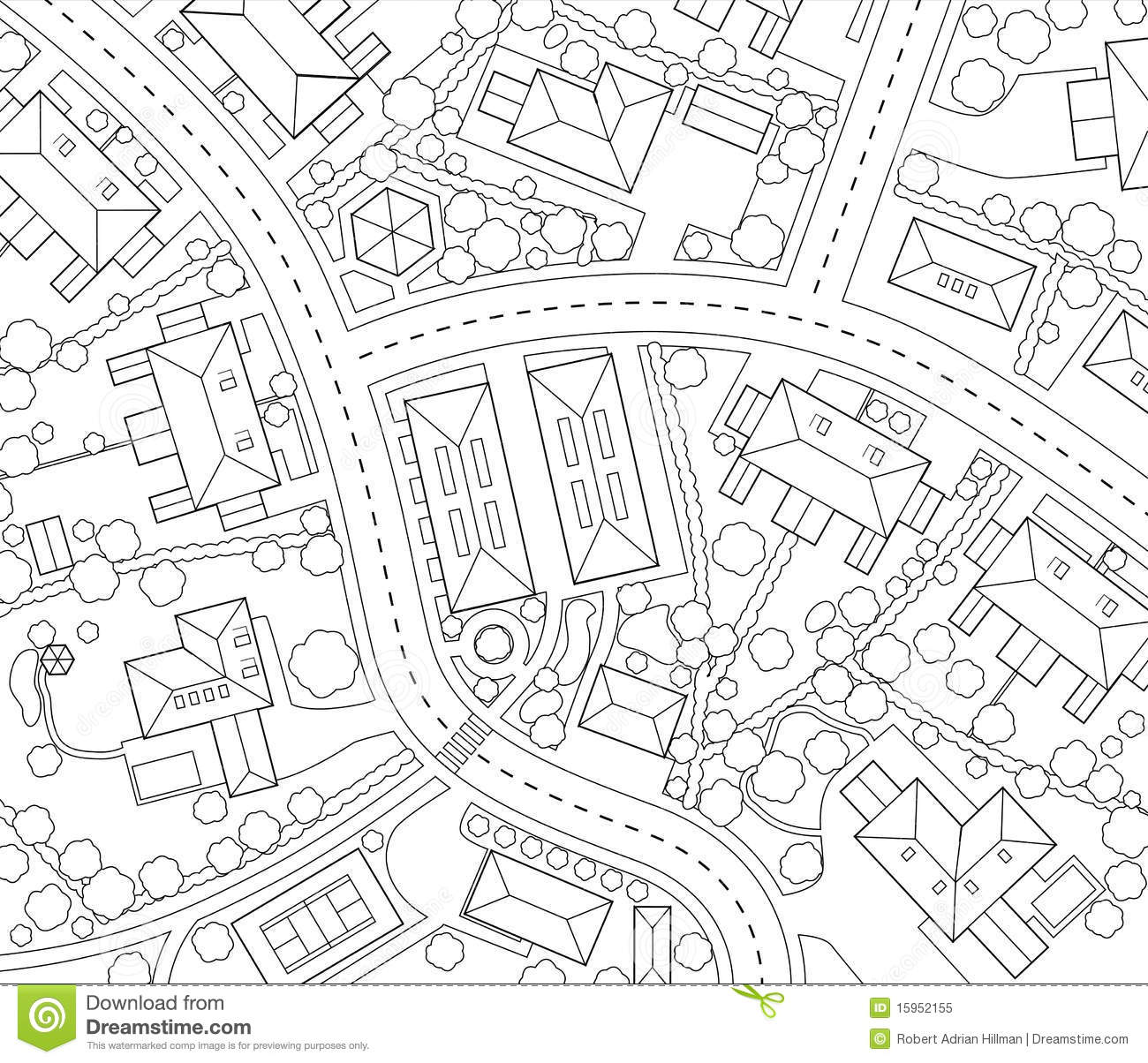 Neighborhood Outline Stock Vector Illustration Of Generic
