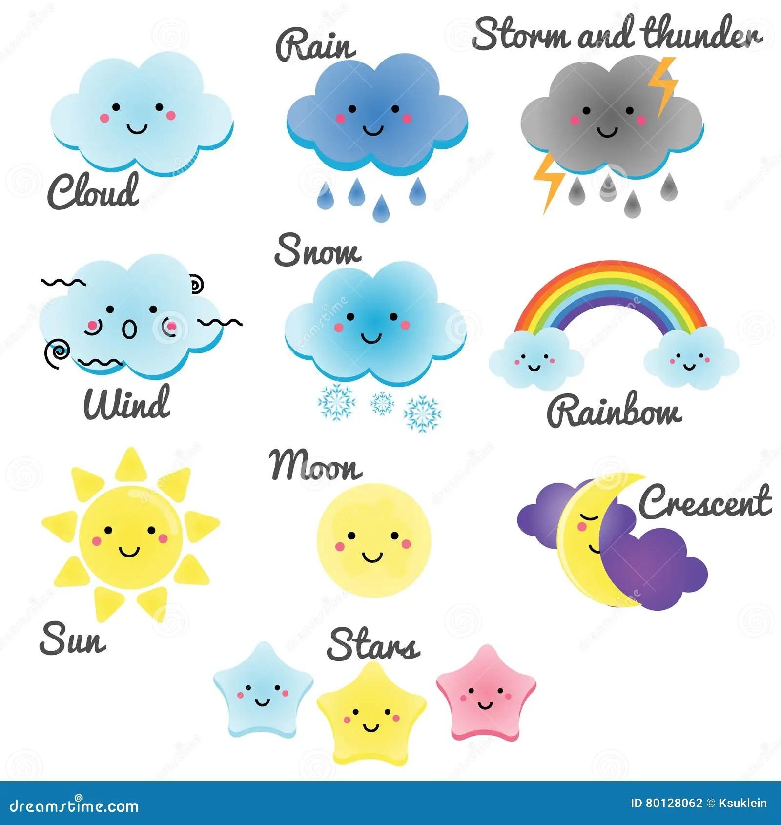 Nette Wetter Und Himmelelemente Mond Sonne Regen Und