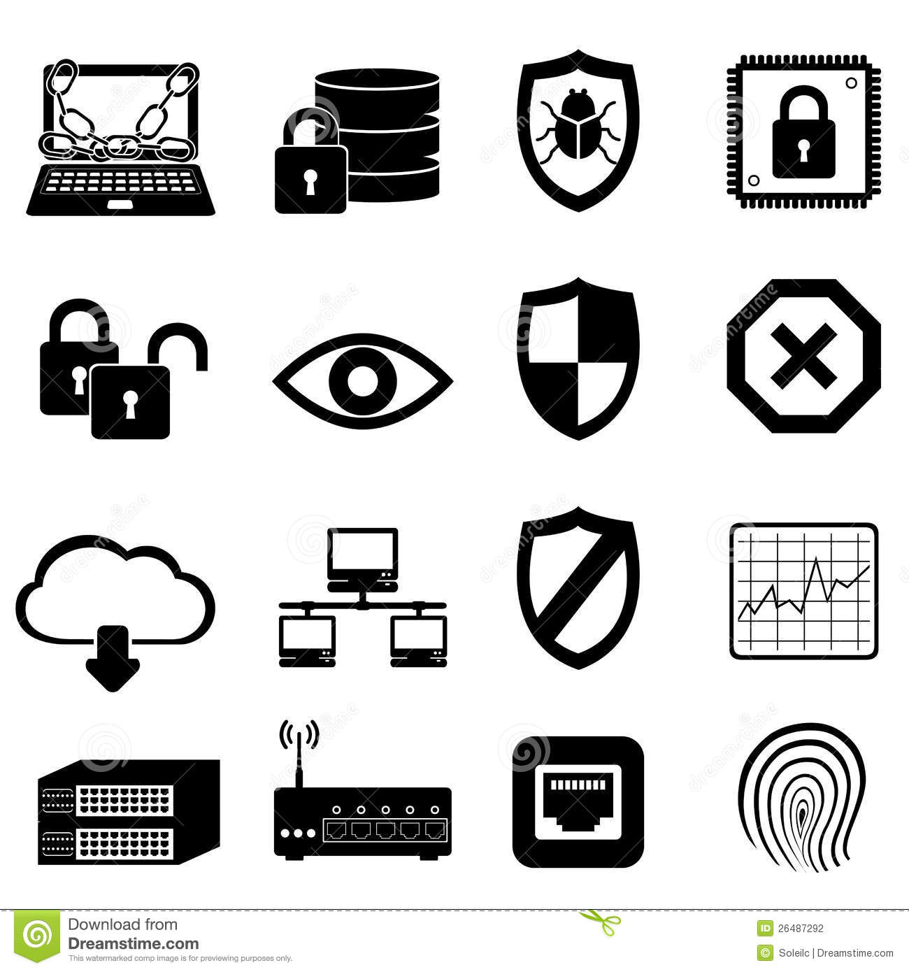 Network Computer And Cyber Security Stock Photography