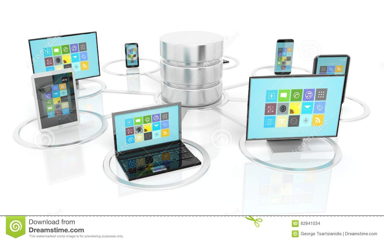 Network Database And Communication Devices Icons Stock