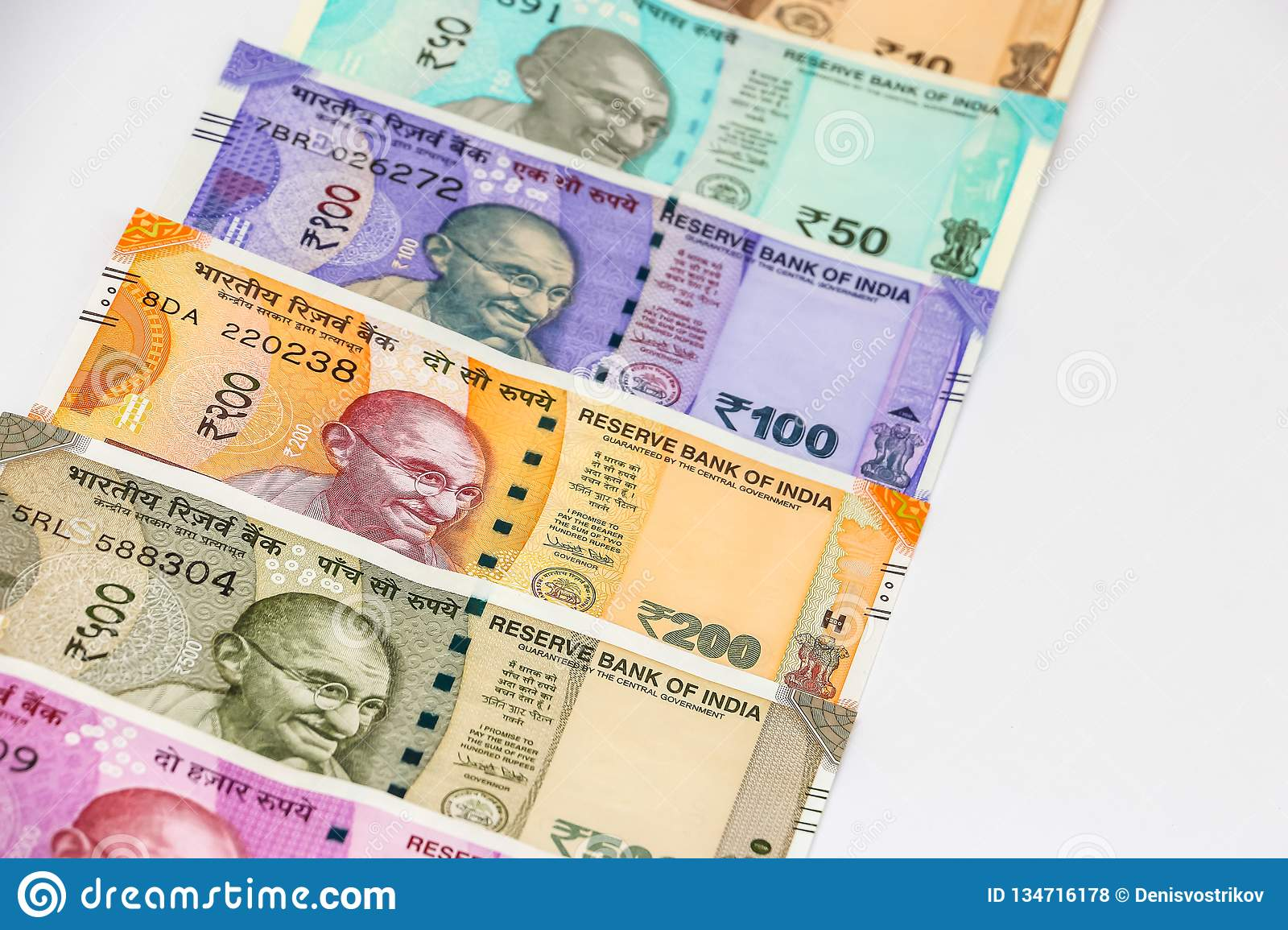New Indian 10 50 100 200 500 And Rupees Banknotes