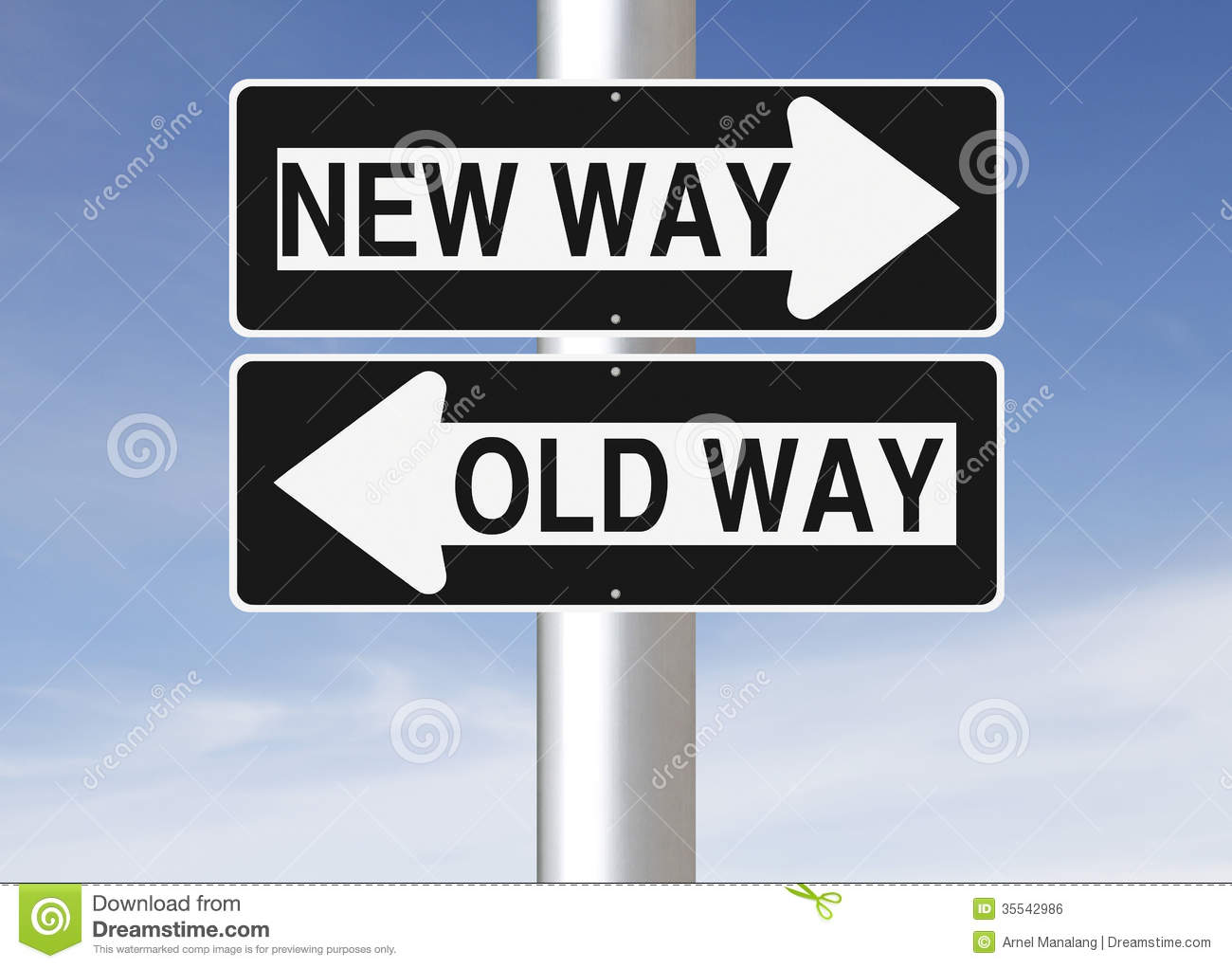 New Way Versus Old Way Stock Photo Image Of Pointing