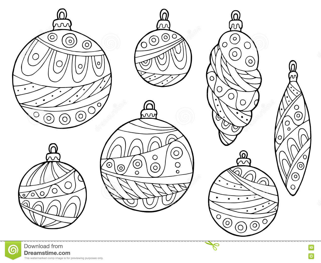 New Year Christmas Balls Black White Abstract Pattern