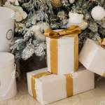 New Year S Gold Gifts Lie Under The Christmas Tree Large Gift Boxes Are White With Gold Ribbon On The Floor Stock Image Image Of December Color 160217335
