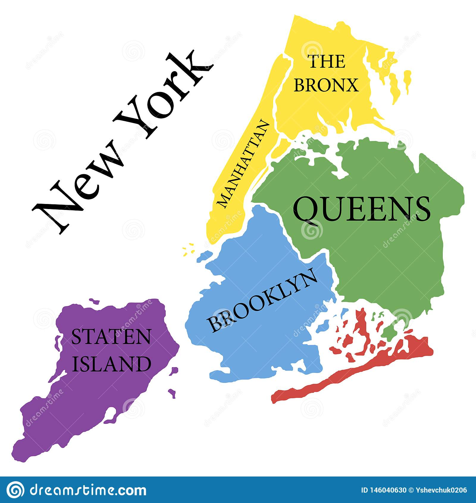 New York State State Of America Territory On White