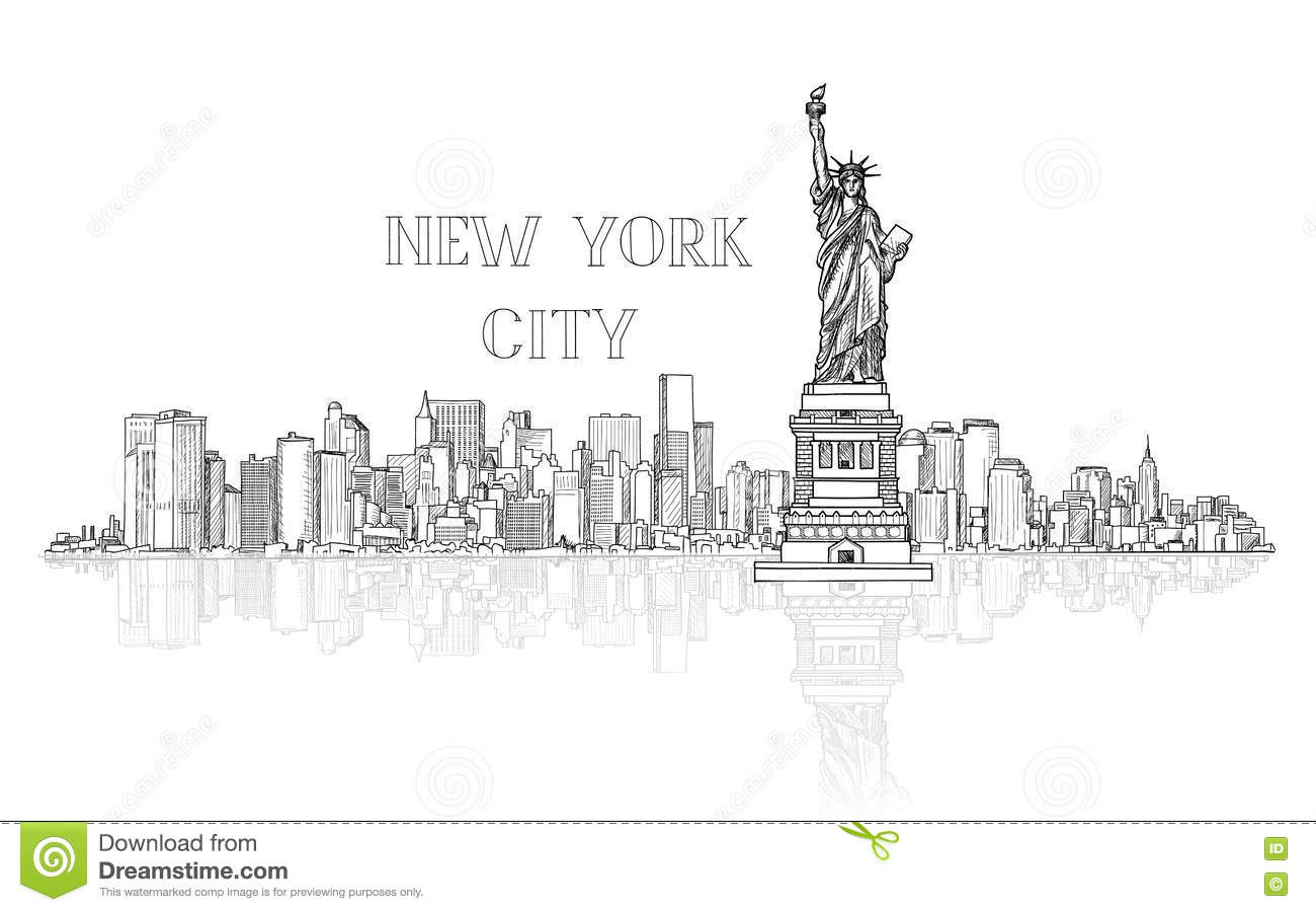 New York Usa Skyline Background City Silhouette