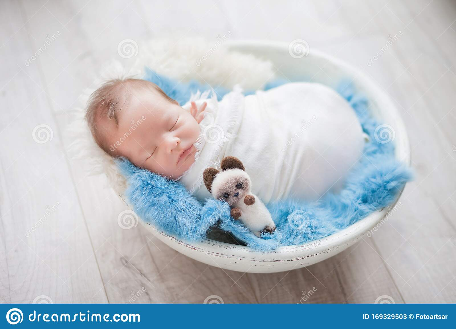Newborn Baby Boy In A Cocoon In A White Bowl On A Blue Rug Stock Image Image Of Caucasian Little 169329503