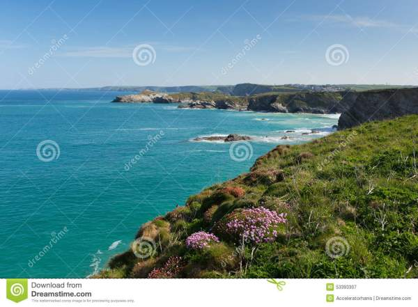 Newquay Coast North Cornwall UK In Spring With Blue Sky ...