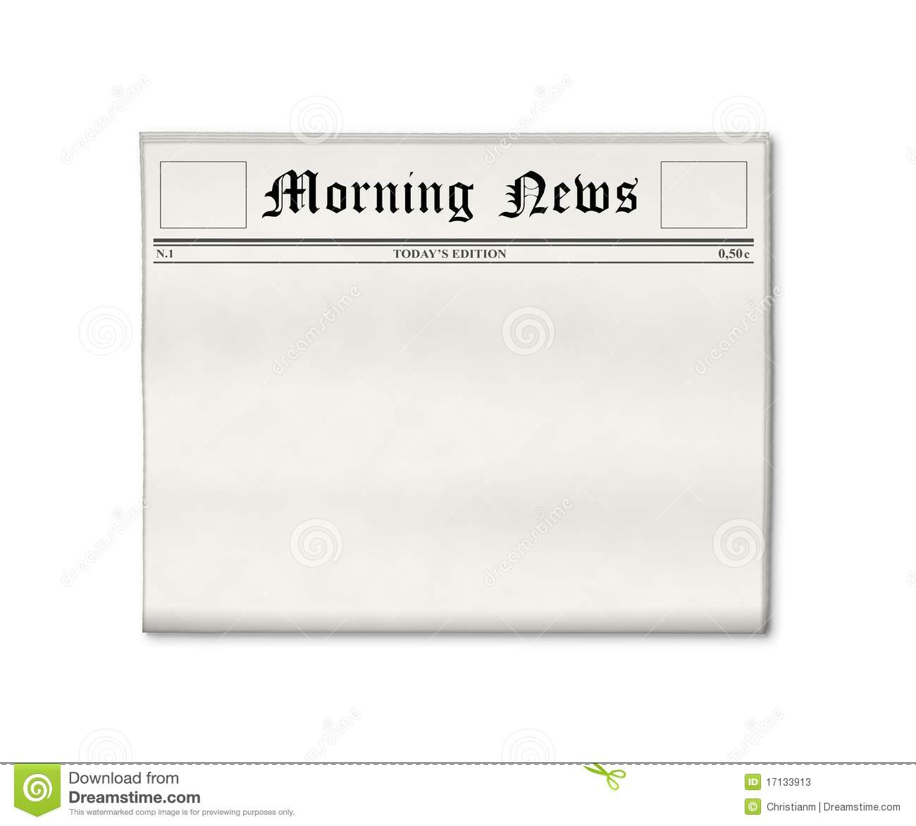 Newspaper Blank Template Stock Image Image Of Business