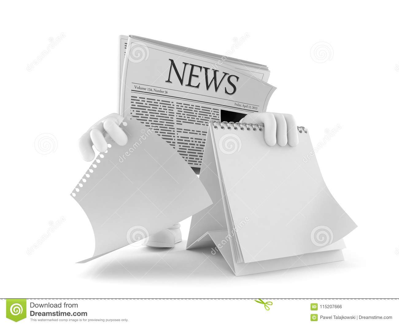 Newspaper Character With Blank Calendar Stock Illustration